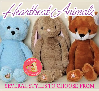 heartbeat buddies have a recording of your baby's heartbeat inside a cute and cuddly stuffed animal of your choice